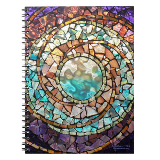 """Stained Glass Mosaic Notebook """"Water Planet"""""""