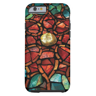 """Stained Glass Mosaic """"Red Lotus"""" iPhone 6 Case"""
