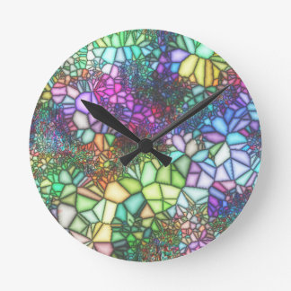 Stained Glass Mosaic Round Clock