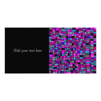 Stained Glass Mosaic Tiles in Purple Hues Photo Cards