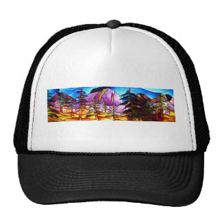stained glass mountains trucker hat