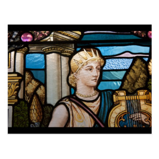 Stained Glass, Muse with Harp Postcard
