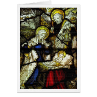 Stained Glass Nativity Christmas Greeting Card