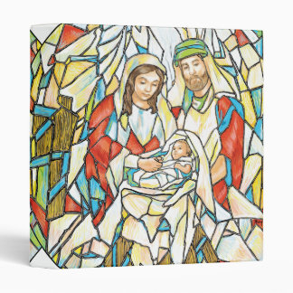 Stained Glass Nativity Painting 3 Ring Binder