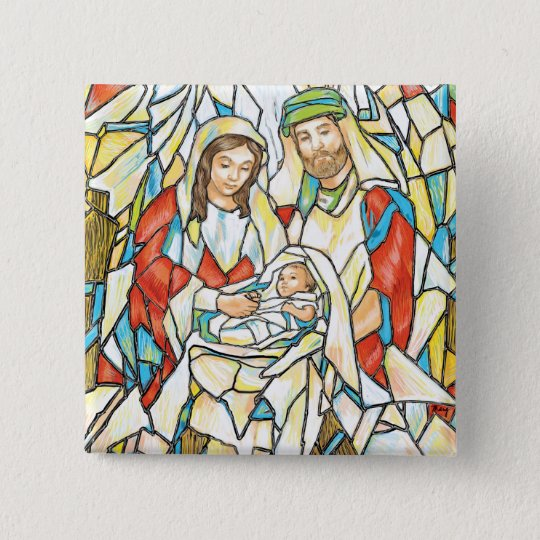 Stained Glass Nativity Painting Button