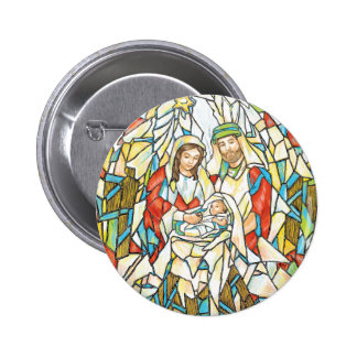 Stained Glass Nativity Painting Buttons