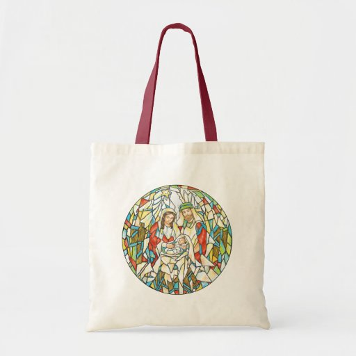 Stained Glass Nativity Painting Canvas Bags