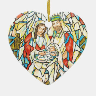 Stained Glass Nativity Painting Ceramic Ornament