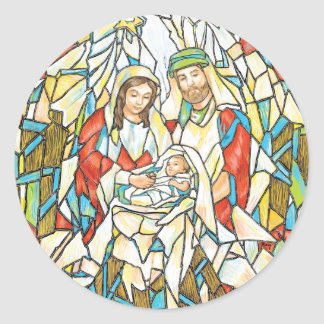 Stained Glass Nativity Painting Classic Round Sticker