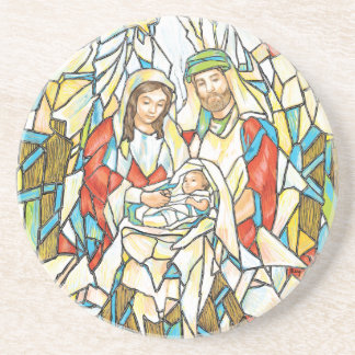 Stained Glass Nativity Painting Coasters