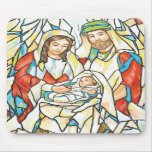 Stained Glass Nativity Painting Mouse Pad