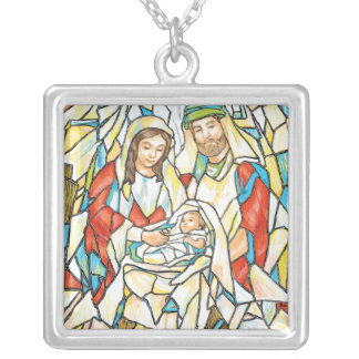 Stained Glass Nativity Painting Pendant