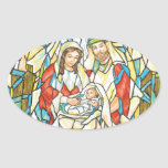 Stained Glass Nativity Painting Oval Stickers