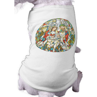 Stained Glass Nativity Painting Pet Tshirt