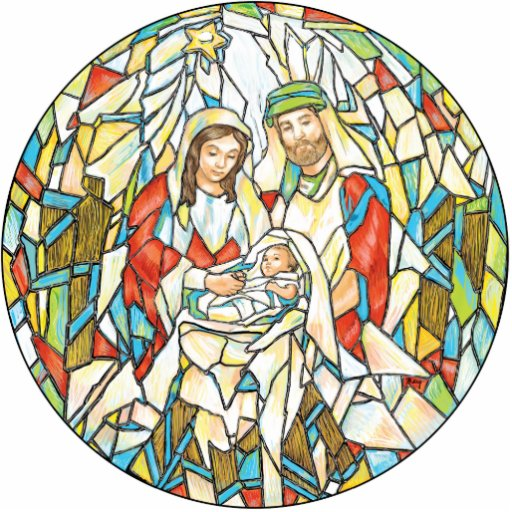 Stained Glass Nativity Painting Photo Cut Outs
