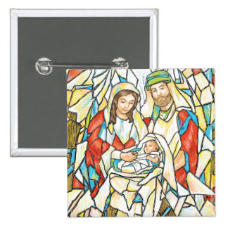Stained Glass Nativity Painting Pin