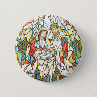 Stained Glass Nativity Painting Pinback Button