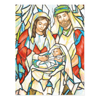 Stained Glass Nativity Painting Postcard