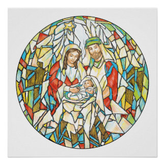 Stained Glass Nativity Painting Poster