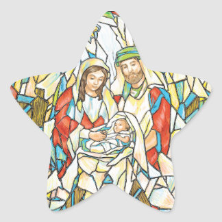 Stained Glass Nativity Painting Star Sticker