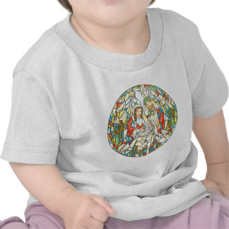 Stained Glass Nativity Painting T Shirts