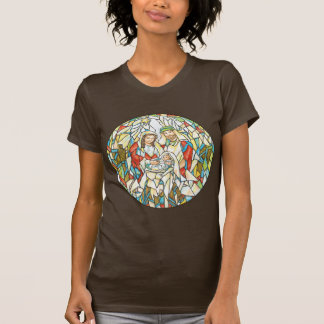 Stained Glass Nativity Painting T Shirt