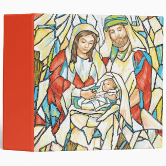 Stained Glass Nativity Painting Vinyl Binders