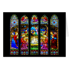Stained Glass Nativity Scene Card at Zazzle