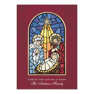 Stained Glass Nativity Scene Christmas Card