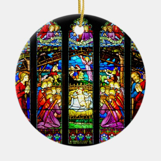 christmas stained glass window templates - stained glass nativity scene christmas ornament
