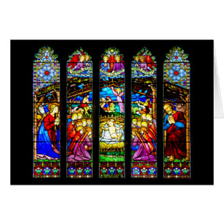 Stained Glass Nativity Scene Greeting Card