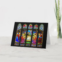 Stained Glass Nativity Scene Holiday Card