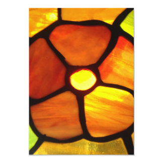 "Stained glass orange pansy bright orange yellow 5"" x 7"" invitation card"