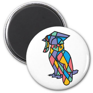Stained Glass Owl 2 Inch Round Magnet