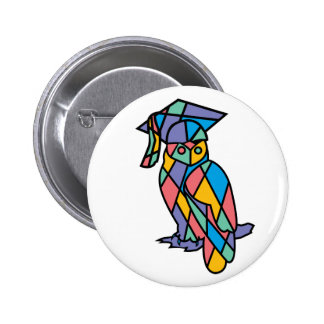 Stained Glass Owl Buttons
