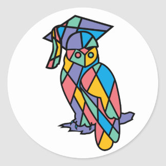 Stained Glass Owl Classic Round Sticker