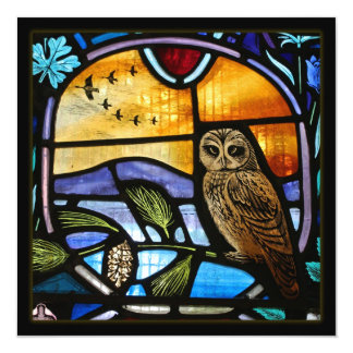 Stained Glass Owl - Invite