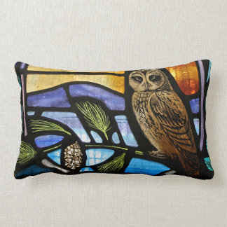 Stained Glass Owl - Lumbar Pillow