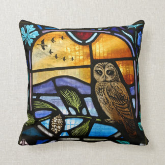 Stained Glass Owl - Square Pillow