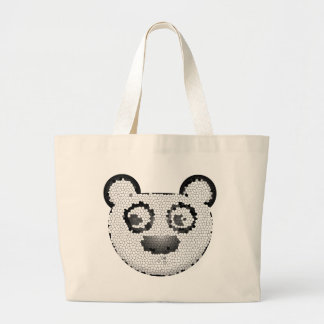 Stained glass panda canvas bag