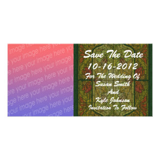 Stained Glass Photo Wedding Save The Date Card