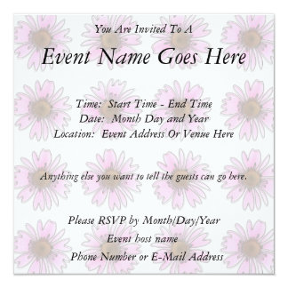 Stained Glass Pink Daisies Personalized Invitations