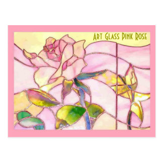 Stained Glass Pink Rose Romantic Anniversary Postcard