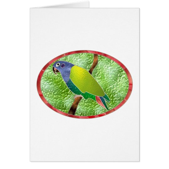 Stained Glass Pionus Parrot Card
