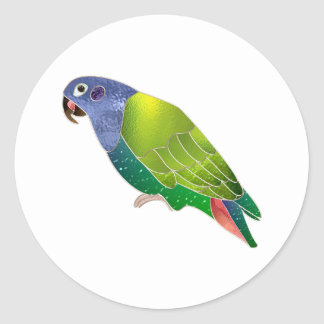 Stained Glass Pionus Parrot Classic Round Sticker