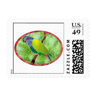 Stained Glass Pionus Parrot Postage Stamp