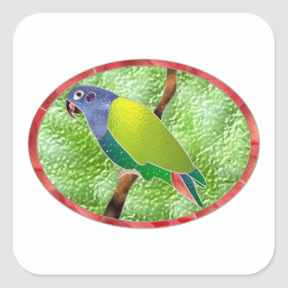Stained Glass Pionus Parrot Square Sticker