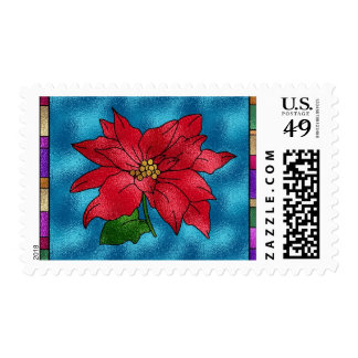Stained Glass Poinsettia Postage Stamps