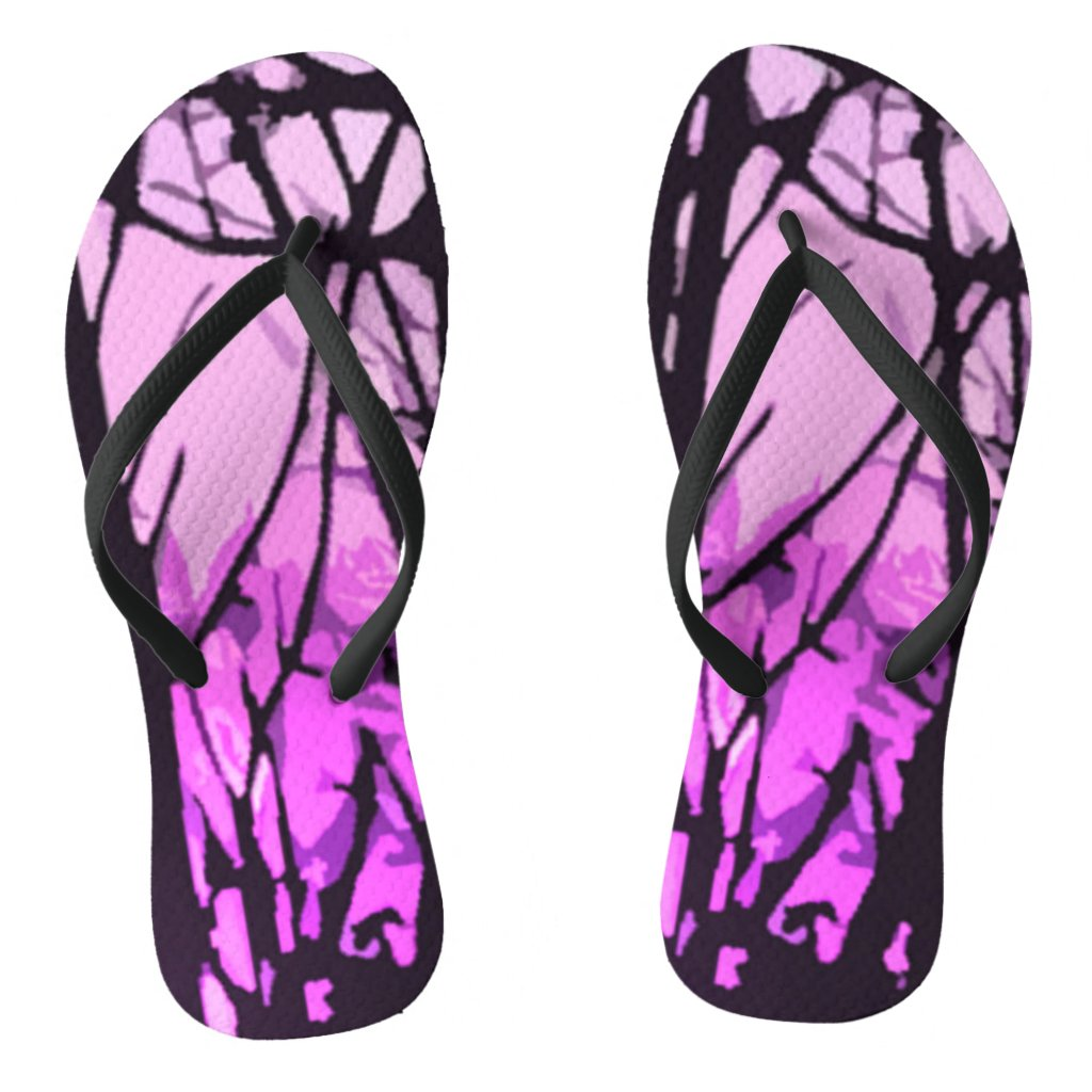Stained Glass Purple Sunset Flip Flops