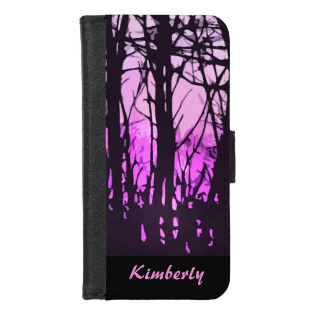 Stained Glass Purple Sunset iPhone 8/7 Wallet Case